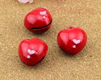 3pcs-Jingle Bell Heart Bells, Brass and Enamel Red heart shape Bell charms pendants 22x20x17mm