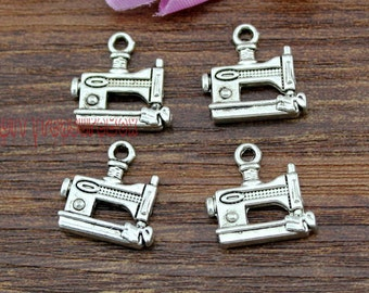 25pcs- Sewing Machine Charms, Antique Tibetan silver Sewing Machine Charm Pendants 15x15mm