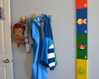 Wooden Growth Chart - Water Animals Theme