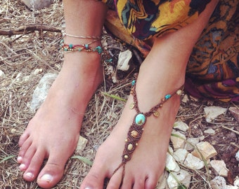 Made by order SINGLe Barefoot sandal SUMMER Beach TiMe, Native American BeaUtiful Turquoise and wood beads ORGANIC JEWELRY