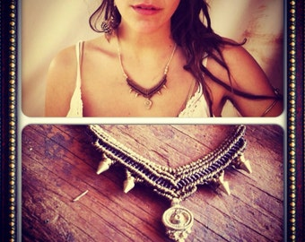 TRIBAL CHEIF macrame tribal necklace ,brass beads, hippie bohemian Gypsy jewelry primitive tribal crafts