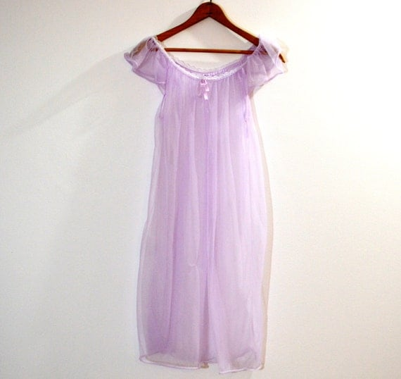 Vintage Sheer Purple Nightgown . Lilac Lingerie . See Through