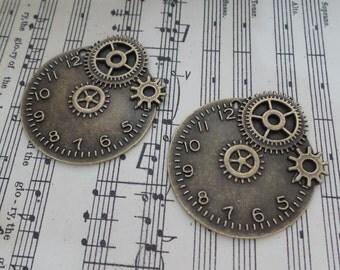 2pcs-Round Metal Gear clock Trinket/NEB16-Bronze metal trinket
