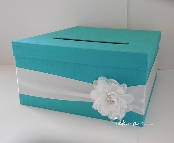 Wedding Gift Box Tiffany Blue : Wedding Gift Card Box / Wedding card box / wedding money box /