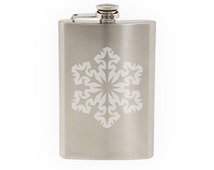 Snowflake Pattern #4 - Winter Art Christmas Decoration  - Etched 8 Oz Stainless Steel Flask