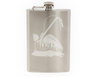 Melting Motorcycle- Etched 8 Oz Stainless Steel Flask