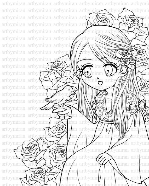 Digital stamp a birdie told me big eyed girl by artbymiran for Big girl coloring pages