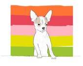 Happy Chihuahua & Stripes -- A Giclee Print from Original Art