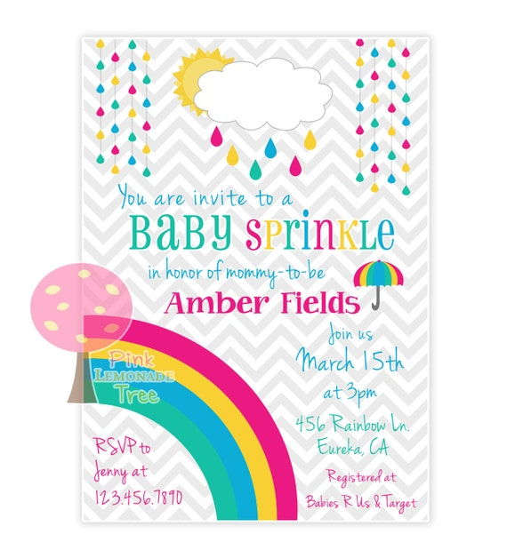 Items Similar To Rainbow Baby Sprinkle Invite Baby Shower