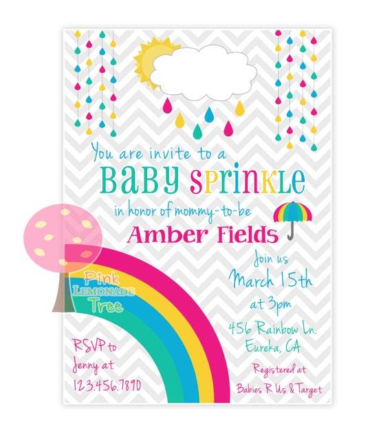 rainbow baby sprinkle invite baby shower invitation rainbow