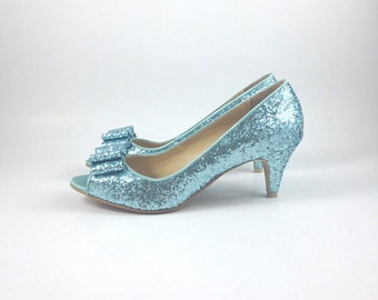 Something Blue Wedding Shoes, Blue Glitter Wedding Shoes, Light Blue Wedding Shoes, Robin Egg Blue Wedding Shoes Blue Heels (Made To Order)