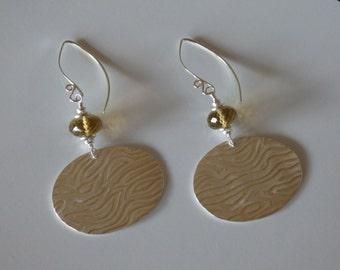 E103-3 Textured fine silver oval dangle earrings