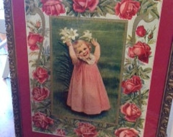 "Large Vintage Original Print from 40's ""Flower Girl"" Framed, Perfect for Grandma's House, Approx 28 x 20"