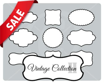 9 white vintage frames with border - vintage labels - vintage style set - instant download