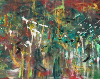 """Abstract Acrylic Original, """"Outer Space"""" in reds, greens, yellow, black, white"""