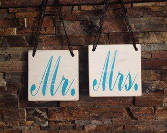 Mr & Mrs Wooden Chair Sign