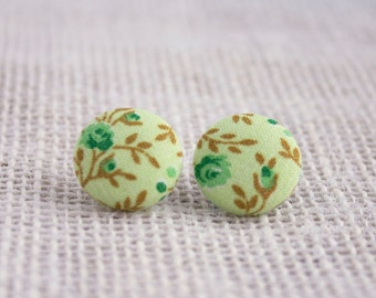 Fabric Button Earrings - Greens Floral