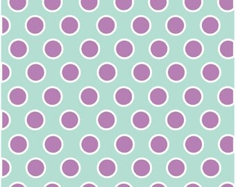 Mint with white and orchid polka dots craft  vinyl sheet - HTV or Adhesive Vinyl -  large white and purple polka dot pattern HTV732