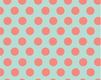 Mint with coral polka dots craft  vinyl sheet - HTV or Adhesive Vinyl -  large polka dot pattern HTV721