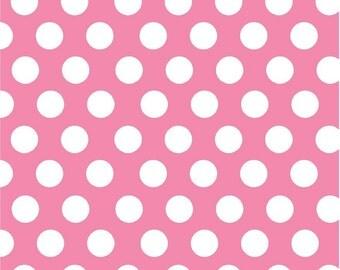 Pink with white polka dots craft  vinyl sheet - HTV or Adhesive Vinyl -  large pink polka dot pattern HTV711