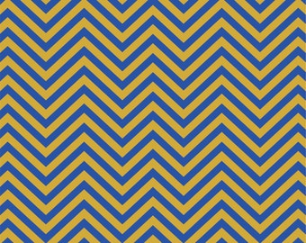 Royal and gold chevron craft  vinyl sheet - HTV or Adhesive Vinyl -  non-metallic old gold zig zag pattern HTV136