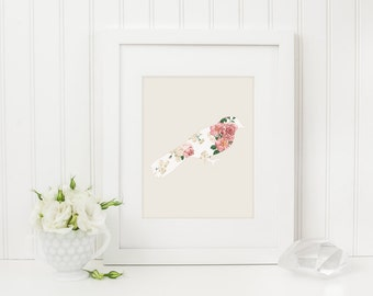 Bird Art Print, Bird Silhouette Art, Bird Wall Art, Shabby Chic Print, Flower Art Print, Floral Art Print, Nursery Art, Bird Home Decor