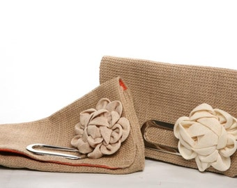 Jute clutch with flower