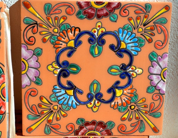 1mexican talavera pottery 12 high relief hand painted for Azulejo de talavera mexico