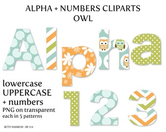 Owl alphabet clip art, letters and numbers, letter clipart, owl clipart,  Scrapbook supplies  - BR 314