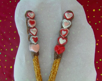 6 Valentine's Pretzel Pops-Milk Chocolate or Dark Chocolate