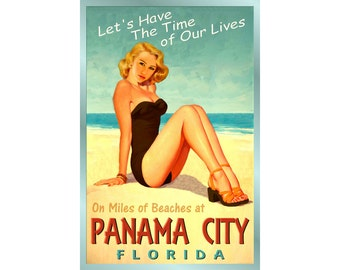 PANAMA CITY Florida -Ocean Beach - Pin Up Poster - 4 sizes - Time of Our Lives New Retro Atlantic Shore Art Print 205