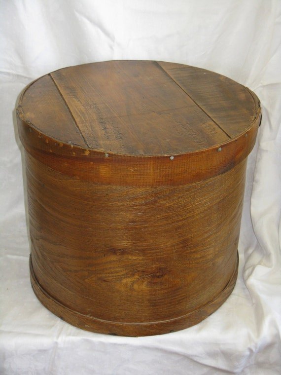 Large Antique Round Wood Cheese Shaker Box Storage