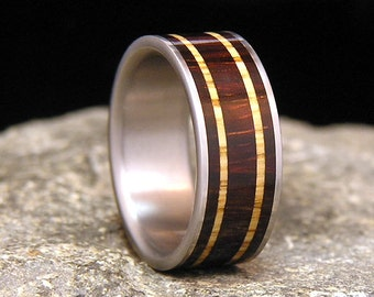 Brazilian Rosewood with Golden White Oak Bands Titanium Wedding Band or Ring