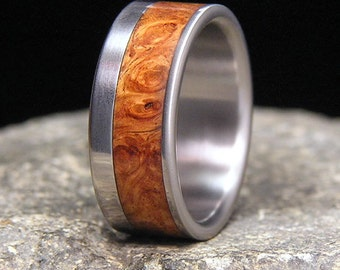 Golden Amboyna Burl Wood Wide Offset Inlay Titanium Wood Wedding Band
