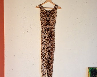 Early 90s Sleeveless Leopard-print Jumpsuit