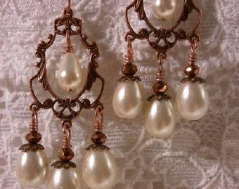 Copper Filigree and Ivory Pearls Earrings, Boho Earrings, Chandelier Earrings, Victorian Earrings