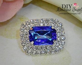 30mm Sapphire BLUE Rhinestone Crystal Embellishments - Baby Headband Supplies - Flatback invitations flower centers 3 pcs 276045