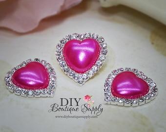 Valentine's Day HOT PINK Heart Pearl Rhinestone buttons Flat Back Metal Embellishment Scrapbooking Headband flower centers 5pcs 20mm 438040