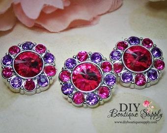 Pink Rhinestone Flower center Buttons Pink and PURPLE  21 mm Acrylic Rhinestone Embellishments Scrapbooking Headband Supplies 5 pcs 594035