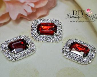 30mm Garnet RED Rhinestone Flatback Embellishments - Baby Headband Supplies - Crystal Embellishment invitations flower centers 3 pcs 615045