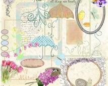 Watercolor Spring Digital Scrapbook Kit