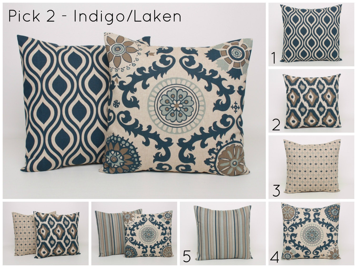 Throw Pillow Covers PICK 2 Blue And Beige By