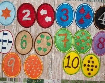 Number 123 Felt Matching Game Egg Shaped  20 Eggs various color patterns learn color matching, count the objects match to the number.