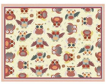Owl Print Nursery Rug Red