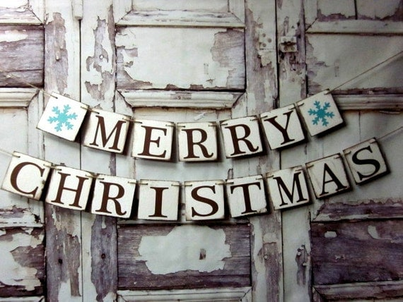 Items similar to Christmas Banner Rustic Decor MERRY CHRISTMAS ...