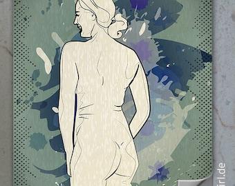 "Vintage retro poster back curvy ""Natural Woman"""