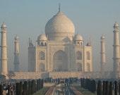Taj Mahal Photograph Building Reflection Mist Romantic Architecture Wall Art Print Card White Blue Green Symmetry Lines christmasinjuly CIJ