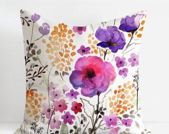 Decorative Pillows, Watercolor Floral Pillowcases, Throw Pillows, Garden Flowers Pillowcovers, Designer Pillowcases, Modern Home Decor