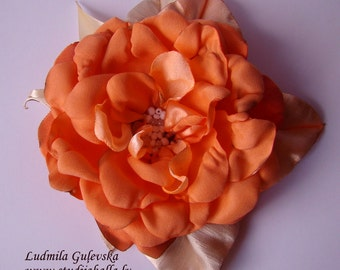 Handmade orange satin flower brooch, flower clip & pin, embroidered flower