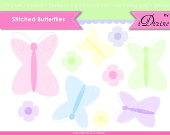 SALE! Butterflies and Flower Transparent Clip Art (Personal & Small Business Use)